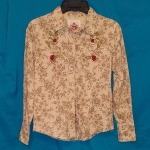 EUC Country Royalty Western Shirt Embroidery